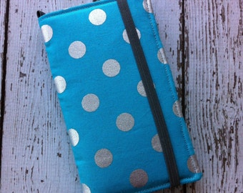 Blue and silver polka dot iPhone wallet case with removable gel case