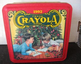 Vintage Crayola Crayon 1992 Holiday Collectible Tin