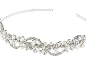 Crystal and Pearl Bridal Headband, Crystal Wedding Headband