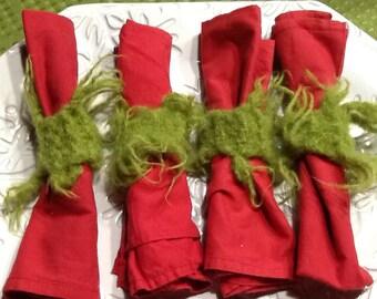 Fuzzy Furry Green Napkin Rings