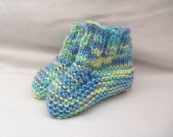 Multicolor Hand Knitted Baby Booties. Handmade Baby Shoes.