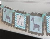 """Blue Grey Chevron """"Its a Boy"""" Giraffe Jungle Animal Baby Shower Banner - Ask About Party Pack Specials"""