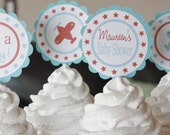 12 Vintage Airplane Themed Baby Shower Cupcake or Cake Toppers - Ask About Party Pack Sale - Free Ship Over 65.00
