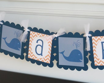"Whale Orange and Navy Chevron ""It's a Boy"" Nautical Baby Shower or Happy Birthday Banner - Free Ship Over 65.00"