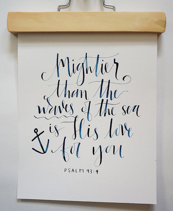 Items similar to hand calligraphy nautical bible verse