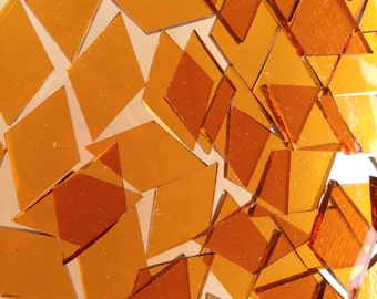 Mosaic Tiles - 100 Small Diamonds - Orange Cathedral Stained Glass - Hand-Cut