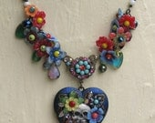 SACRED HEART - Explosive signed Sugar Skull folk art-to-wear hand painted Nicho locket OOAK