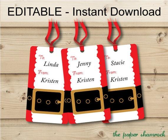 Christmas gift tags holiday gift tags christmas tags hang for Free printable editable christmas gift tags