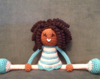Crochet African Doll in Pink and Blue Dress, Plush curls twists dreads Locks Natural Black Hair Stuffed Toy Baby Girl Gift MADE TO ORDER