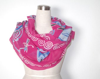 Dragonfly silk scarf. Dragonflies chiffon shawl hand painted in fuschia, blue, black. Sheer stole wrap gift for grandma, mothers day present