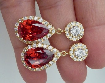 Bridal Earrings Halo Dark Red Pear Shaped Cubic Zirconia with Yellow Gold Plated Round CZ Post Earrings