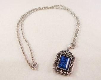 Vintage Silver & Blue Pendant Necklace