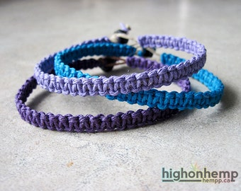 Purple Bracelets, Bracelet Pack, Bracelet Set, Minimalist Bracelets, Hemp Bracelets, Macrame Bracelets