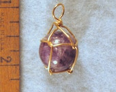 Dark Amethyst Wire Wrapped Crystal Ball Pendant