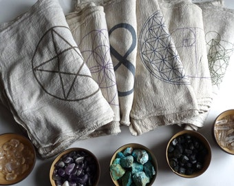 CRYSTAL GRID CLOTHS --- set of 3 -- choose any 3 designs--- 100% cotton, all natural, sacred geometry, grid templates