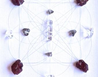 BALANCE GROUND MANIFEST --- framed sacred crystal grid --- smoky quartz,  garnet, clear quartz