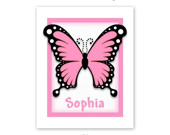 Personalized Butterfly Art Print for Childrens' Room