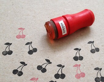 Mini Cherry Rubber Stamp