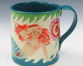 Sexy RedHead MERMAID on the BEACH MUG Sgraffito Carved Design on Porcelain Pottery