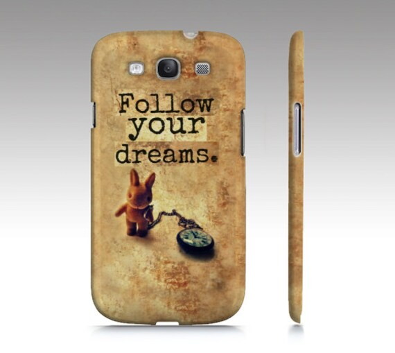 Inspirational Quote Case, Alice in Wonderland, Bunny, Pocket Watch, iPhone 4 4s, Samsung Galaxy, Brown, Graduation Gift, Whimsical, Rabbit