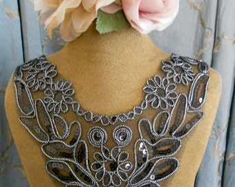 Black and Silver Sequined Appliques