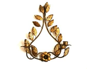 Vintage Gold Gilded Wall Sconce Candle Holder, Wonderful Aged Patina, Romantic Decor, Cottage Decor