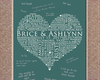 11x17 Signature Guest Book, Guest Sign In for wedding, personalized wedding word art, WEDDING GUESTBOOK SIGNATURE poster, love words poster
