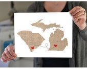 Valentine's Day Gift - As seen on CountryLiving.com Two States Love Wedding Gift  Personalized State Natural Custom Location Modern Cute Fun