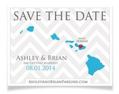 Save the Date Postcards - Custom Colors and pick ANY State - Hawaii, California, Florida, New York, Michigan, Carolina