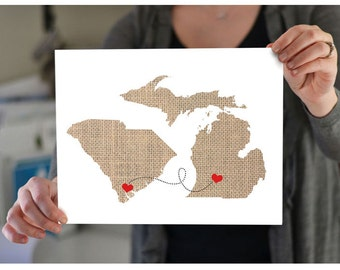 Two State Map Art - As seen on CountryLiving.com Two States Love Wedding Gift  Personalized State Natural Custom Location Modern Cute Fun