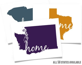 ANY State Home map - choose your color wall art print Texas Michigan New York