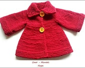 Pattern for knitted doll coat HOPE, doll coat pattern, top down knit,knitting for dolls, , easter gift, red doll coat, AG knitted coat