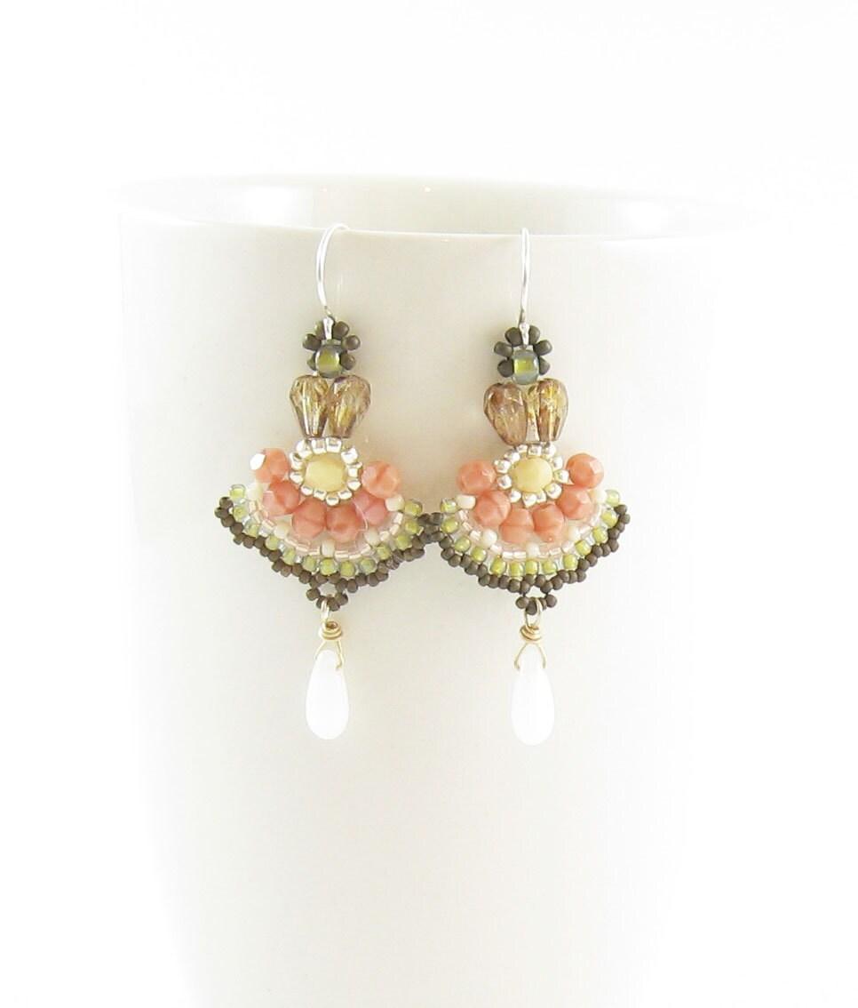 Long Dangle bohemian earrings,beadwork,salmon pink,smoky quartz, white and green
