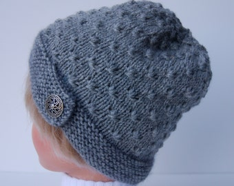 Gray knitted hat with button brim, knit gray hat, light gray beanie, knit wool hat, gray knit beanie, knit gray beanie, wool beanie