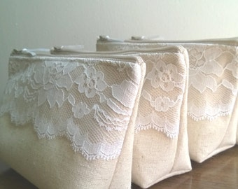 Set of 4 - Rustic Wedding, Linen and Lace Bridesmaid Clutch Purse, Country Wedding, Bridesmaids Gift