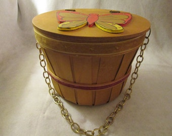 1960's or 70's BUTTERFLY Lid Basket PURSE by Caron of Houston, Tex.