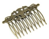 10 Hair Combs - WHOLESALE -  Antique Bronze  65x46mm  - Ships IMMEDIATELY from California - HF04a