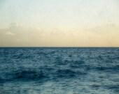 Ocean Photography, Bathroom Wall Decor, Oversized Print, Lake House Decor, Indigo Blue and White Photograph
