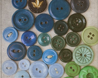 Button Photography, Craft Room Art, Blue and Green Wall Decor, Sewing Photograph, Square Picture