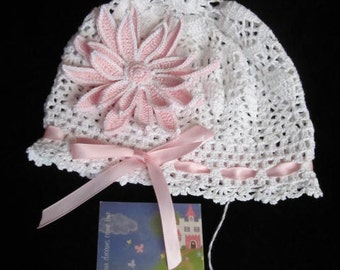 Crochet Baby Panama Hat, Baby Flower Hat, Crochet Girls Hats, Gerbera Baby Summer Girl Hat, Baby Girl Panama Hat, Summer Baby Bonnet