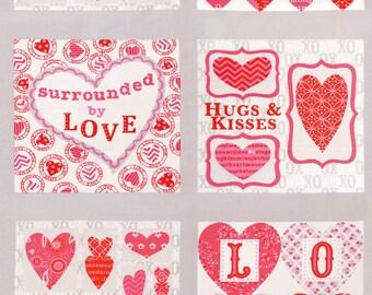 Moda - Surrounded by Love - Deb Strain Seasonal Valentines Panel Grey