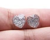 Tiny Clear Glitter Heart Earrings