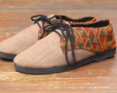 Cocoa Brown Vegan Oxford Mens Shoes In Natural Hemp & Laos Tribal Embroidery _ Alex
