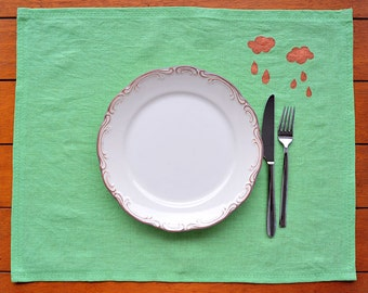Green natural Linen Placemat.4 pieces.Handmade and ready to ship!