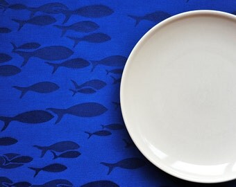Blue fishy tablecloth.Dark blue tablecloth.Handsewn and Ready to ship!