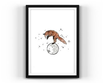 Fox, Over the Moon, Stars, Pounce, Dream, Whimsical, Untitled, Illustration, Pen and Ink open edition 5x7 print