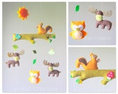Baby mobile - Forest mobile - Moose mobile -  Owl mobile - Baby crib mobile - Baby mobile owl