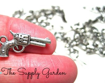 Silver Revolver Gun Charms (10)