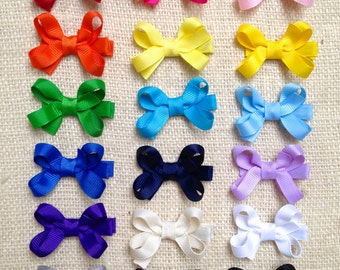 Grosgrain Ribbon hair bows on lined alligator clips, Set of 6 Small 2 inch bows, Girls hair bows, hair clips, hair accessories