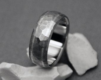 Titanium Ring, Mosaic Finish, Titanium Band, Sterling Silver Ring, Mens Titanium Ring, Womens Titanium Ring, Titanium Wedding Ring, Rings